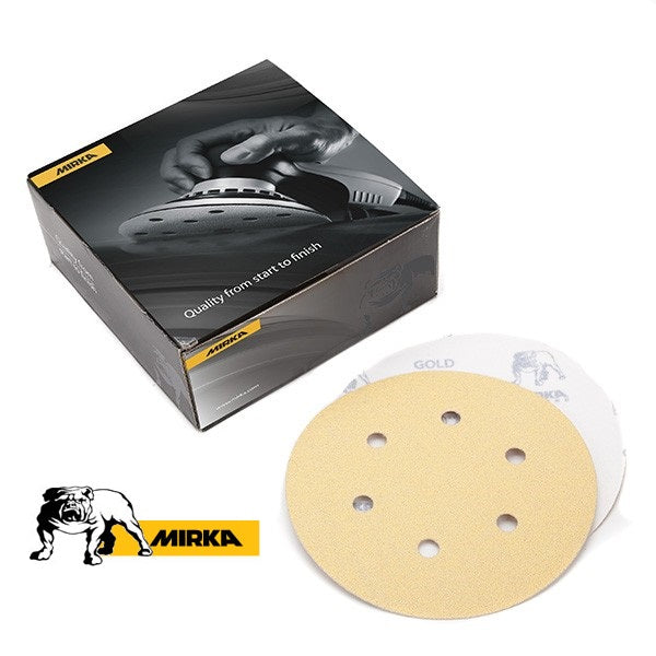 "MIRKA GOLD 6"" x 6H HOOK & LOOP SANDING DISCS (60 - 220 GRIT)-Marson Equipment"