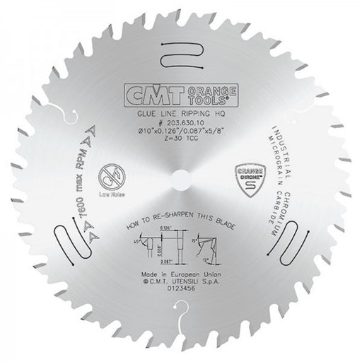 "CMT 203.630.10 HEAVY DUTY 10"" X 30T GLUELINE RIP BLADE-Marson Equipment"