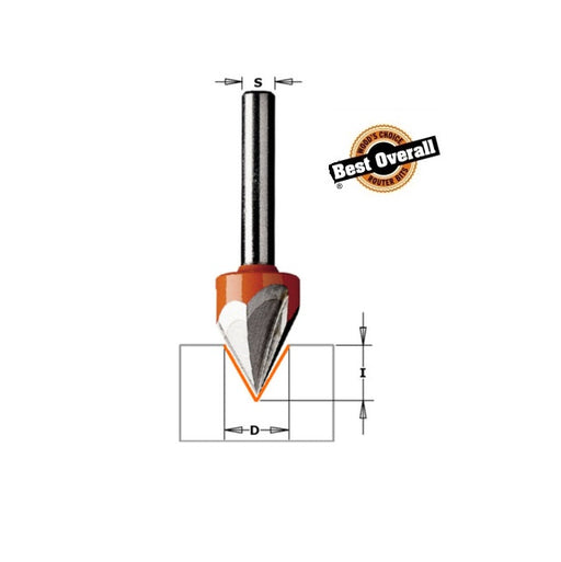 "CMT 858.001.11 Laser Point Bit, 1/2"" Diameter, 60 Deg, 1/4"" Shank-Marson Equipment"