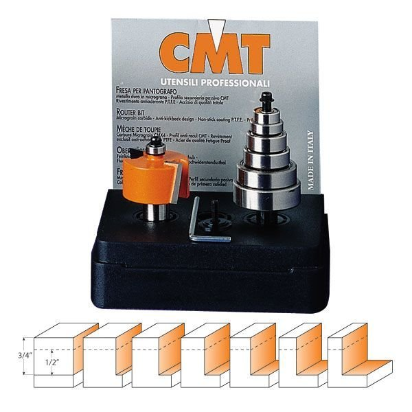 "CMT 835.001.11 Rabbeting Set w/ (7) Bearings, 1/2"" Height, 1/4"" Shank-Marson Equipment"