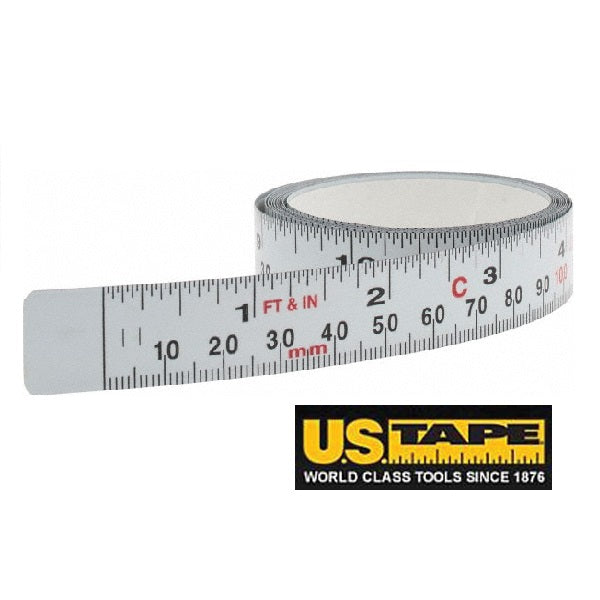"ADHESIVE-BACK STEEL BENCH TAPE - 1/2"" x 12' L TO R / IMPERIAL & METRIC SCALE-Marson Equipment"