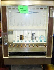 A vintage vending machine filled with Wish goodies.