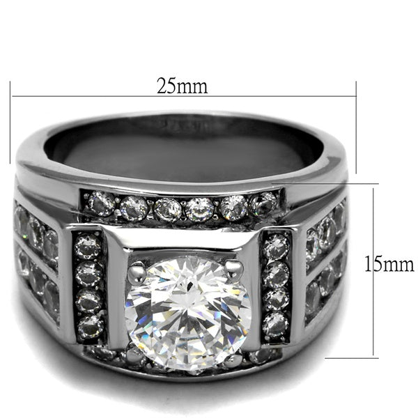 Silver Diamond Stainless Steel Ring (Sizes: 8-13)