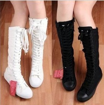 Womens Canvas Lace Up Knee High Tall Punk Sneakers 35 black
