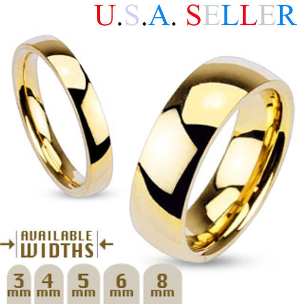 3mm - 8mm Wide 14k Gold Plated Classic Comfort Fit Wedding Ring Band Size 5-14 Ring Width 03mm Size 07