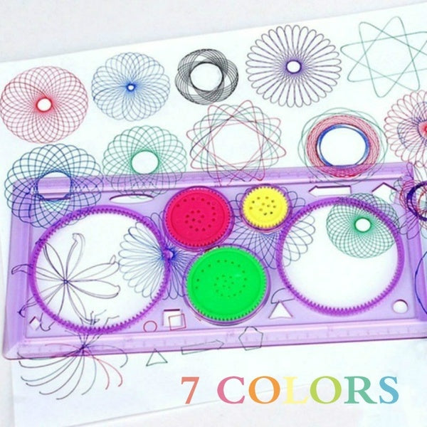 1Pcs 7 s For Choices Spirograph Geometric Ruler Drafting Tools Stationery For Students Drawing Set Learning Art Sets Creative Gift For Children lightpink