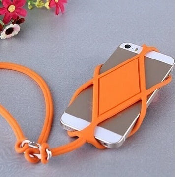 Silicone Lanyard Case Cover Holder Sling Necklace Wrist Strap For Cell Phone darkblue
