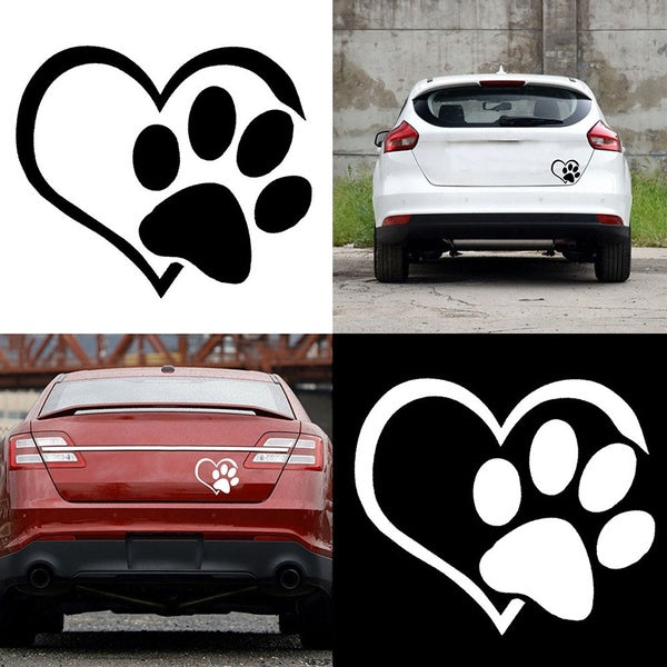 2 Pcs Pet Paw Print With Heart Dog Cat Vinyl Decal Car Window Bumper Sticker
