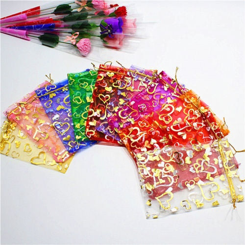 50 100PCS Organza Wedding Xmas Party Favor Gift Candy Bags Jewellery Pouches 50pcs 7 x 9cm pink
