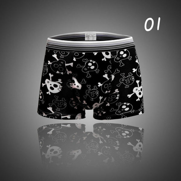 Sexy Underwear Men Boxers Shorts Cueca U Convex Pouch Underpant Male Calzoncillos Marca Plus Size Personality Skull National Flag Printed Boxer Briefs 07-XXL