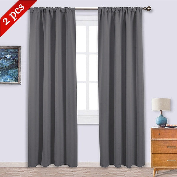 2 Panels Blackout Rod Pocket Thermal Insulated Darkening Curtains Winter Bedroom livingroom Decor 42 by 84 pink