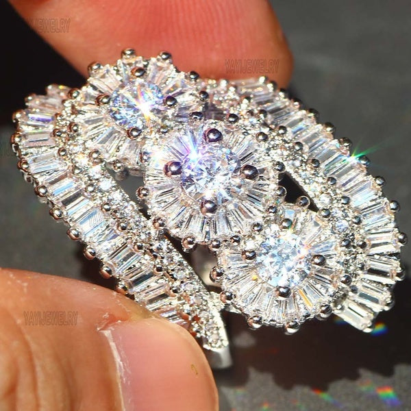 Silver and White Ring 10 white