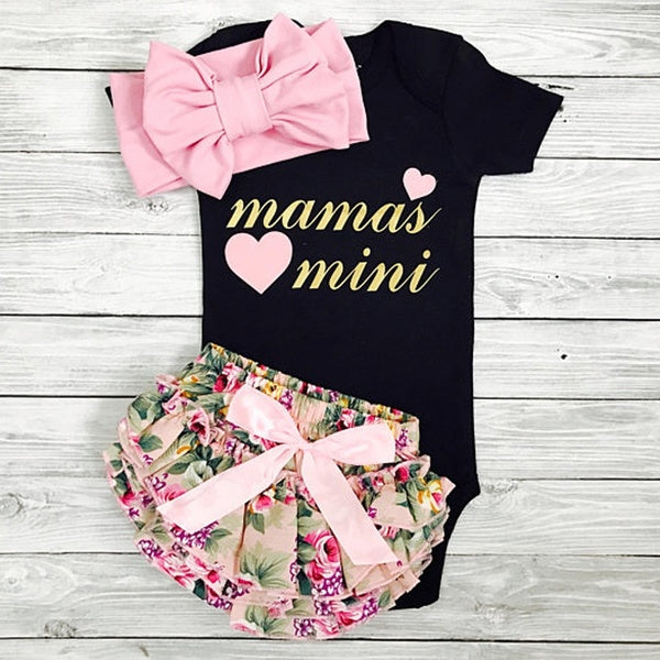 0-24 Months Mamas Mini 3Pcs Baby Girls Suit Clothes Black Romper Floral Shorts With Headband 6-12m
