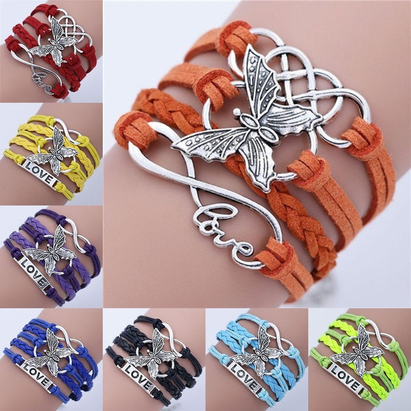 Vintage Handmade Diy Multilayer Leather Infinity Love Butterfly Charm Chain Bracelet Color Multicolor blue