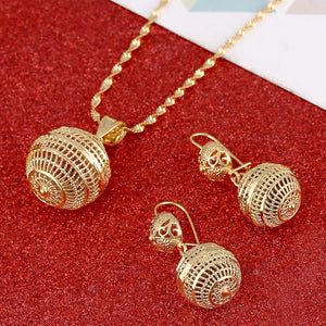 Hot Sale 24K Gold Jewelry Set Necklace Earrings Pendant Fashion African Round Beads Jewelry For Women