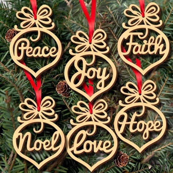 6Pcs/Set Hollow Letters Natural Wood Christmas Ornaments Hanging Christmas Tree Decorations