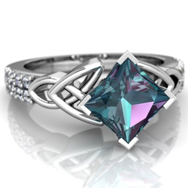 Luxury Alexandrite And Diamond Celtic Knot Engagement Ring In 14K White Gold