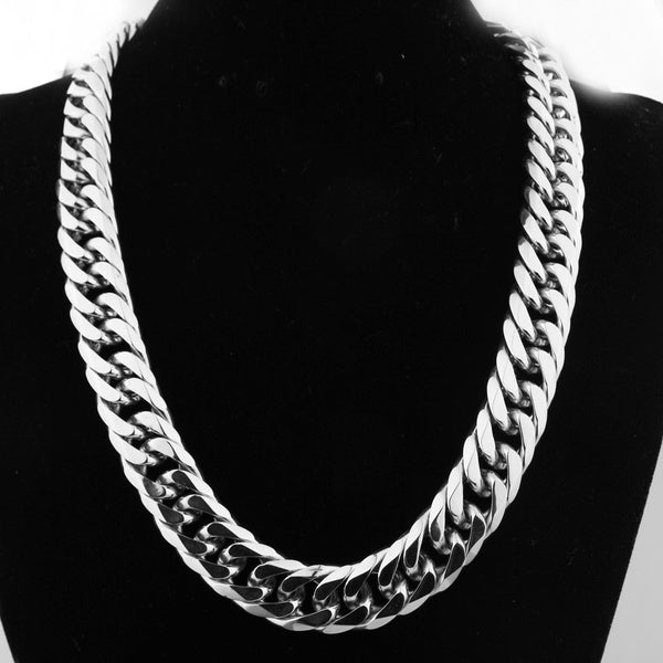 16 19 21Mm Stainless Steel Heavy Mens Silver Curb Cuban Chain Necklace 16-40 38inch by 16mm