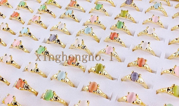 10Pcs Colorful Gemstone Gold Rings