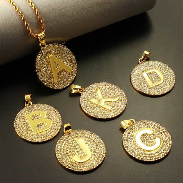 3mm 24inch Twist Chain Fashion Mens Hip Hop Iced Out Crystal 26 Letters Pendant Necklace Jewelry D