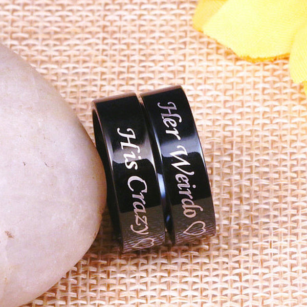 Couples Matching Ring Her Weirdo and His Crazy His and Hers Stainless Steel Wedding Band for Mens Womens, Comfort Fit Womens His Crazy Size 9 silver