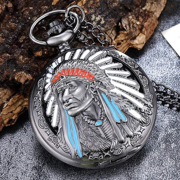 New Vintage Indian People Quartz Pocket Watch With Chain Necklace Pendants Clock Gift