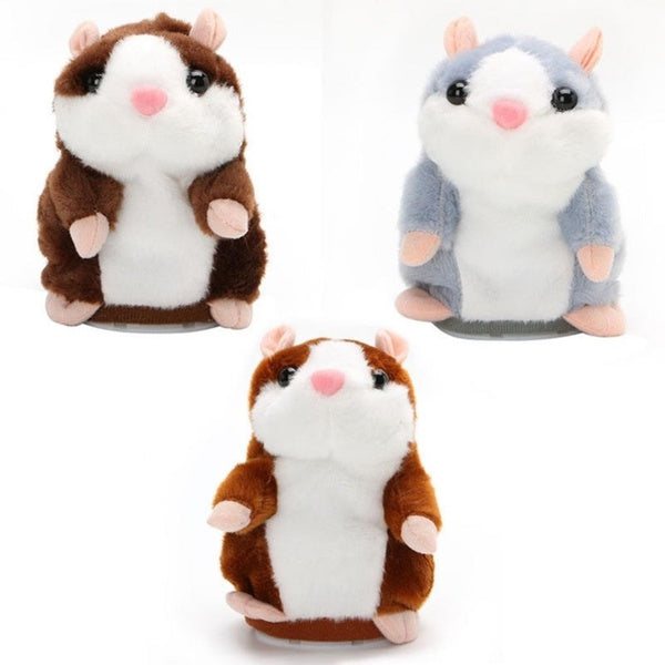 Cute Talking Nod Hamster Mouse Electric Spark Sound Recording Chat Mimicry Pet Plush Toy brown
