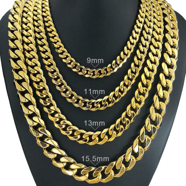 Mens Solid Chain Necklace 13mm width 60cm length