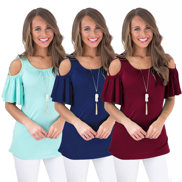 Womens Fashion Summer Solid Color O-neck Strappy Cold Shoulder Shirt Casual Short Sleeve Pleated Blouse Loose Cotton Basic Tops Plus Size XS-5XL 4XL white