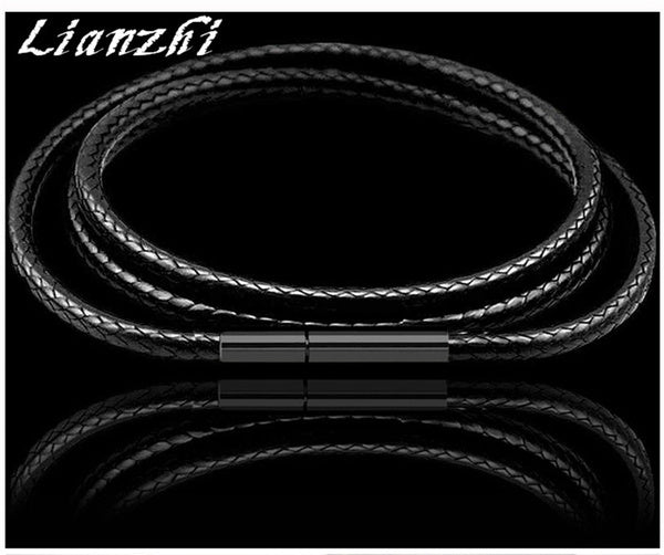 Mens genuine 3mm Genuine Wax leather cord choker necklace stainless steel Grain of buckle 7 -30 SHL 26
