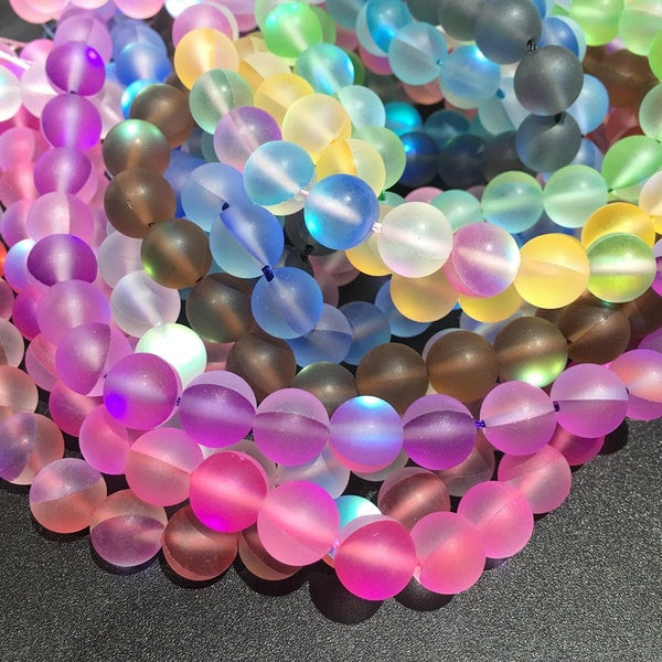 Frosted Multicolor Moonstone Beads 12 colors 6mm-63pcs yellow