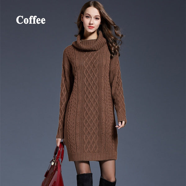Warm Casual Long Sweater Dresses Larger Bust 104-110 cm navyblue