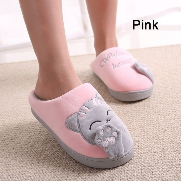 Womens House Slippers with Cartoon Cat 37 pink