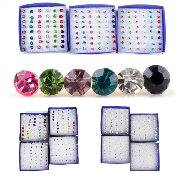 20 Pairs Set Fashion Crystal Cute Ear Stud Earrings Women Jewelry New Year Gift Colorful 4mm multicolor
