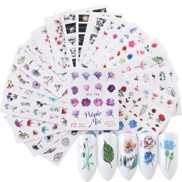 Watercolor Flower Sticker Nail Decals 24 pcs