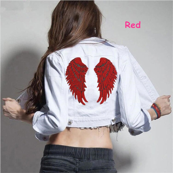 2 Pcs set Sequin Angel Wings Applique Embroidery Patches Patche for Clothing Clothes Parches Sewing Patch Sticker Accessories L silver