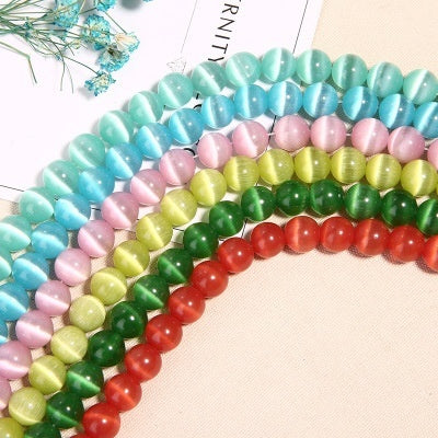 Natural Glass Cat Eye Bead String for DIY Jewelry Making 11 colors 8mm-48pcs multicolor