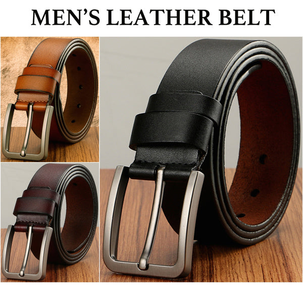 Mens Classic Metal Buckle Handcrafted Genuine Leather Jean Belt Fits Pant Sizes 44 to 45 brown