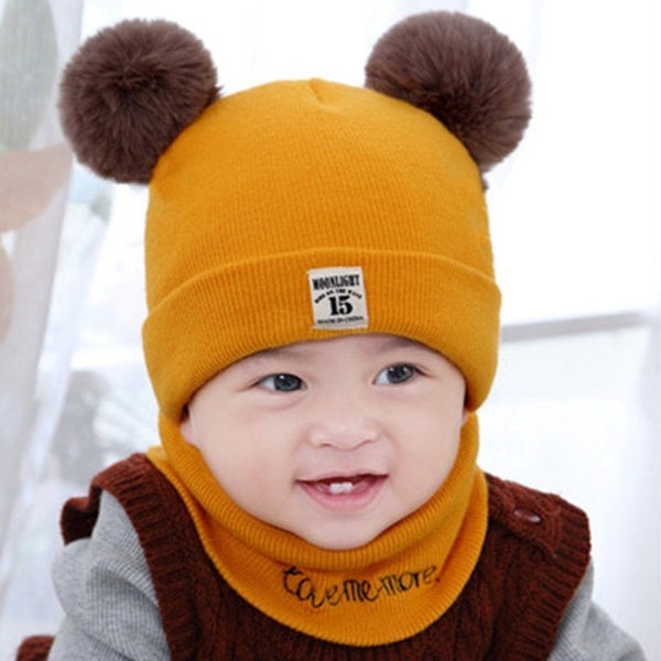 Toddlers Hooded Earflap Knitted Cap Scarf
