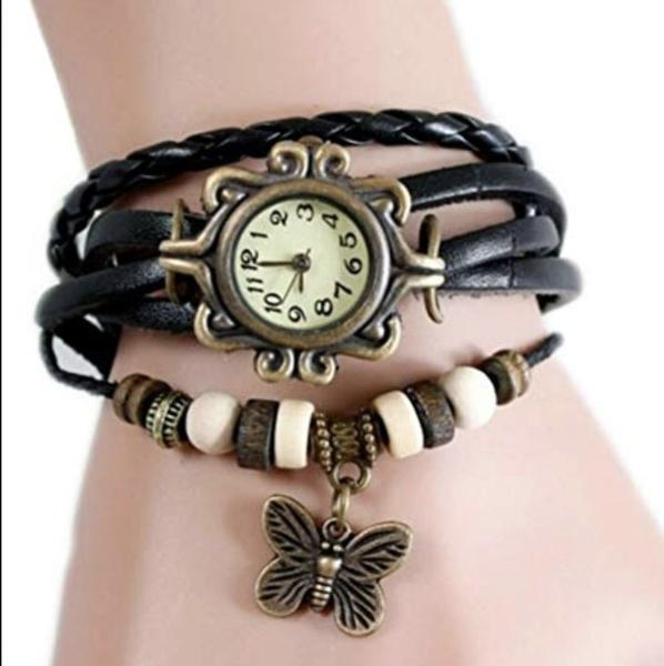 Women Vintage Multilayer Butterfly Leather Watch