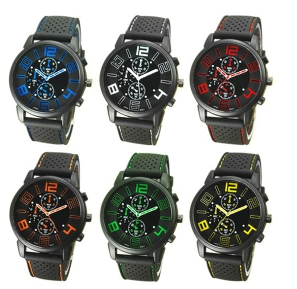 1/2/3PCS Quartz Analog Deluxe Stainless Steel Quartz Military Sport Outdoor Silicone Band Dial WristWatch Gift