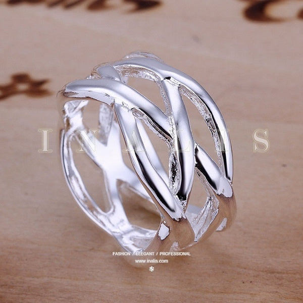 Silver Ring Fish Net Silver Jewelry Ring Gift Finger Rings Size 6-10 1 PC - Size 8 silver