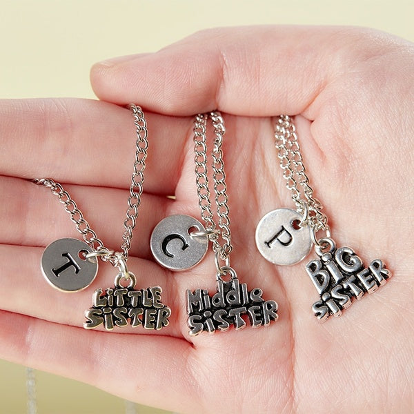 Creative Family Necklace Sisters Little Sister Big Sister Middle Sister Charm Necklace Sister Pendant Sisters Gift Necklace Middle Sister S