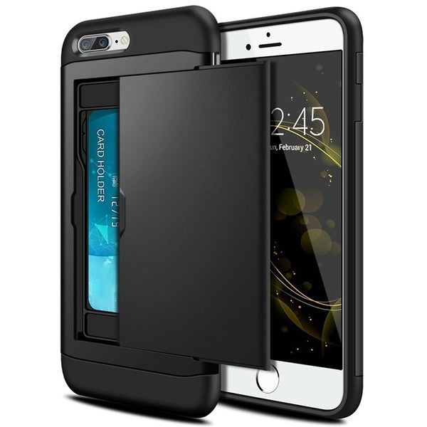 Portable Multifunction Card Pocket Shockproof Slim Hybrid Wallet Case Cover for iPhone X 8 Plus iPhone 7 Plus 6 6S Plus iPhone 5 5S Samsung Galaxy Note 8 S9 S8 Plus S6 S7 Edge Plus Note 4 5 A3 A5 A7 3 PCS - iPhone X black
