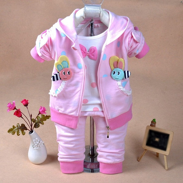 Spring Autumn Infant Baby Girls Clothing Set 3 Pieces Sets Long Sleeve Cotton T Shirt Hoodie Jacket and Pants 6-12m darkpink