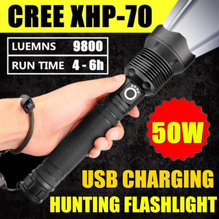 50W CREE XHP70 Outdoor Hunting High Power LED Flashlight
