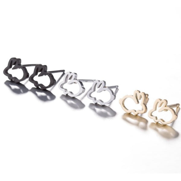 1 Pair Adorable Simple Stainless Steel Hollow Rabbit Stud 1 Pair silver