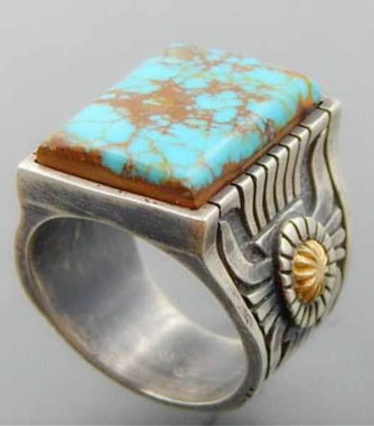 Vintage fashion mens and womens silver gold-plated two-color ring natural square turquoise gemstone ring anniversary gift engagement wedding high-end jewelry 11 green