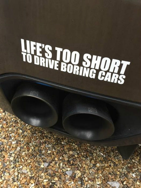 Life Is Too Short To Drive Boring Cars Bumper Sticker yellow