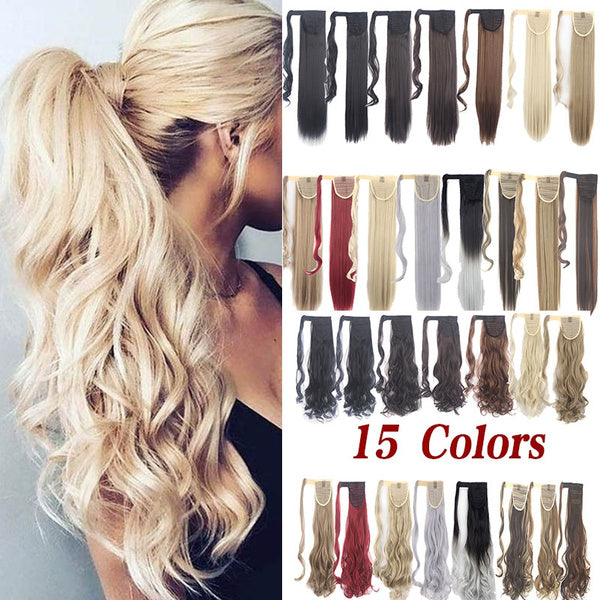 18 24 Long Silky Curly and Straight Ponytails Clip In Synthetic Pony Tail Heat Resistant Fake Hair Extension Wrap round hairpiece for Woman 18 Curly darkblond
